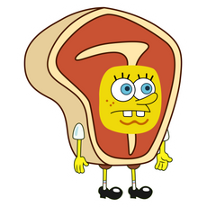 Spongebob in Steak Costume Sticker
