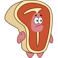 Patrick Star in Steak Costume Sticker