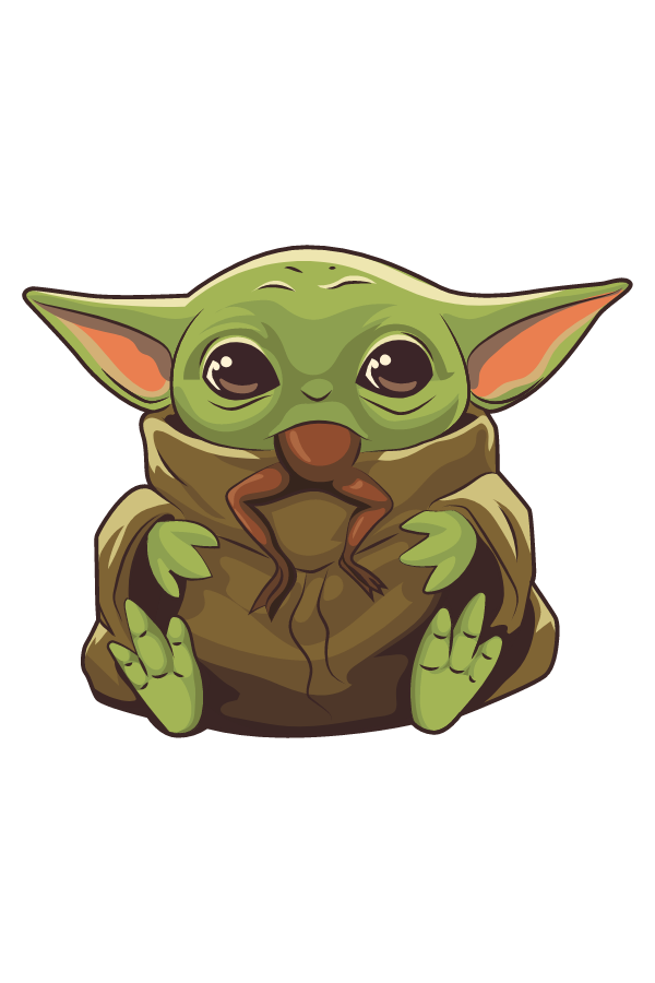 The Mandalorian Baby Yoda Eating Frog Sticker