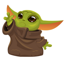 Baby Yoda Trying to Reach Stuff Sticker