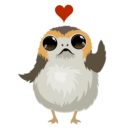 Star Wars Porg Love Sticker