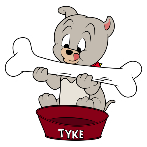 Tom and Jerry Tyke Eating Bone Sticker