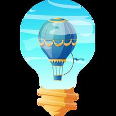Air Balloon in Light Bulb Sticker