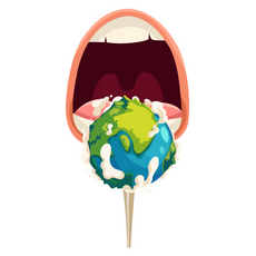 Mouth and Planet Sticker