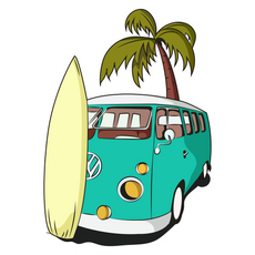 VW Camper Van and Surf Sticker
