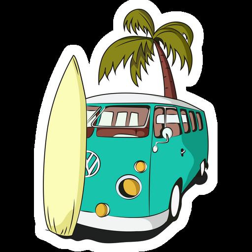 VW Camper Van and Surf Sticker