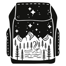 Black Backpack Сamping Sticker