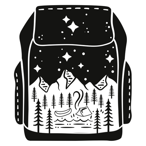 Black Backpack Сamping Sticker