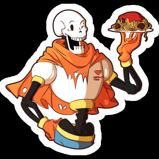 Undertale Papyrus with Spaghetti Sticker