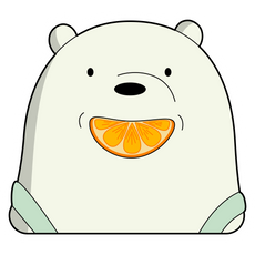 We Bare Bears Ice Bear with Orange Sticker