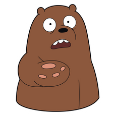 We Bare Bears Asking Grizzly Sticker
