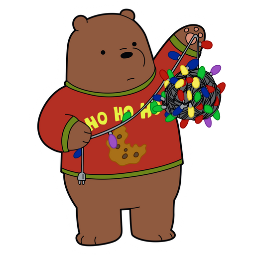 We Bare Bears Grizzly with Christmas Lights Sticker