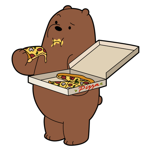 We Bare Bears Grizzly Eating Pizza Sticker