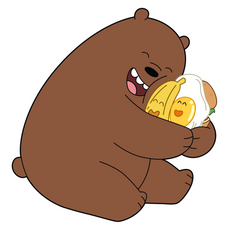 We Bare Bears Grizzly with Food Friends Sticker