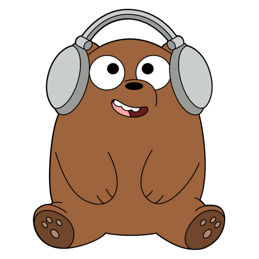 We Bare Bears Grizzly Listen to Music Sticker