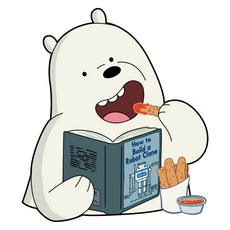 We Bare Bears Ice Bear Reading Sticker