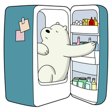 We Bare Bears Ice Bear in Refrigerator Sticker