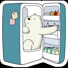 We Bare Bears Ice Bear in Refrigerator Sticker