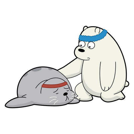 We Bare Bears Ice Bear and Seal Workout Sticker