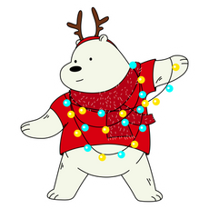We Bare Bears Ice Bear Christmas Mood Sticker
