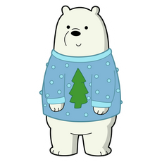 We Bare Bears Christmas Ice Bear Sticker