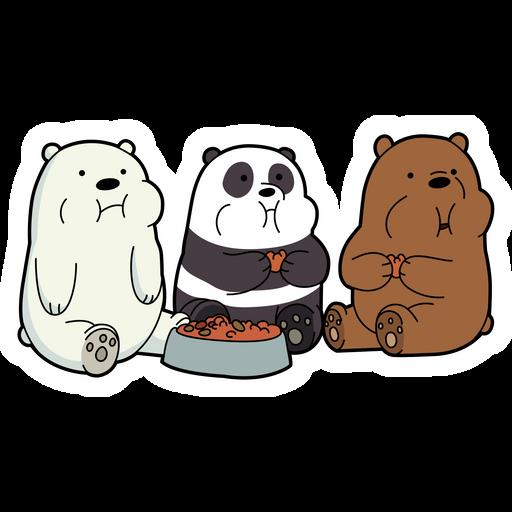 We Bare Bears Eating Sticker