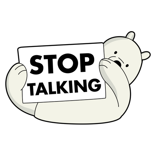 We Bare Bears Ice Bear Stop Talking Sticker