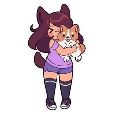 Aphmau and Jet The Corgi Dorgi Sticker